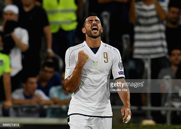 Graziano Pelle of Italy celebrates after scoring the opening goal during the FIFA 2018 World Cup Qualifier between Israel and Italy at Itztadion...
