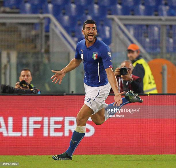 Graziano Pelle' of Italy celebrates after scoring the team's second goal during the UEFA EURO 2016 Group H Qualifier match between Italy and Norway...