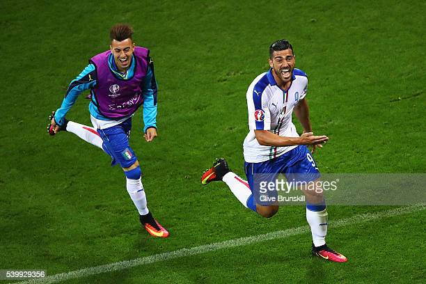 Graziano Pelle of Italy celebrates scoring his team's second goal with his team mate Stephan El Shaarawy during the UEFA EURO 2016 Group E match...
