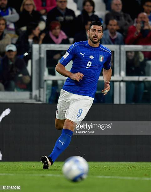 Graziano Pelle of Italy in action during the FIFA 2018 World Cup Qualifier between Italy and Spain at Juventus Stadium on October 6 2016 in Turin...