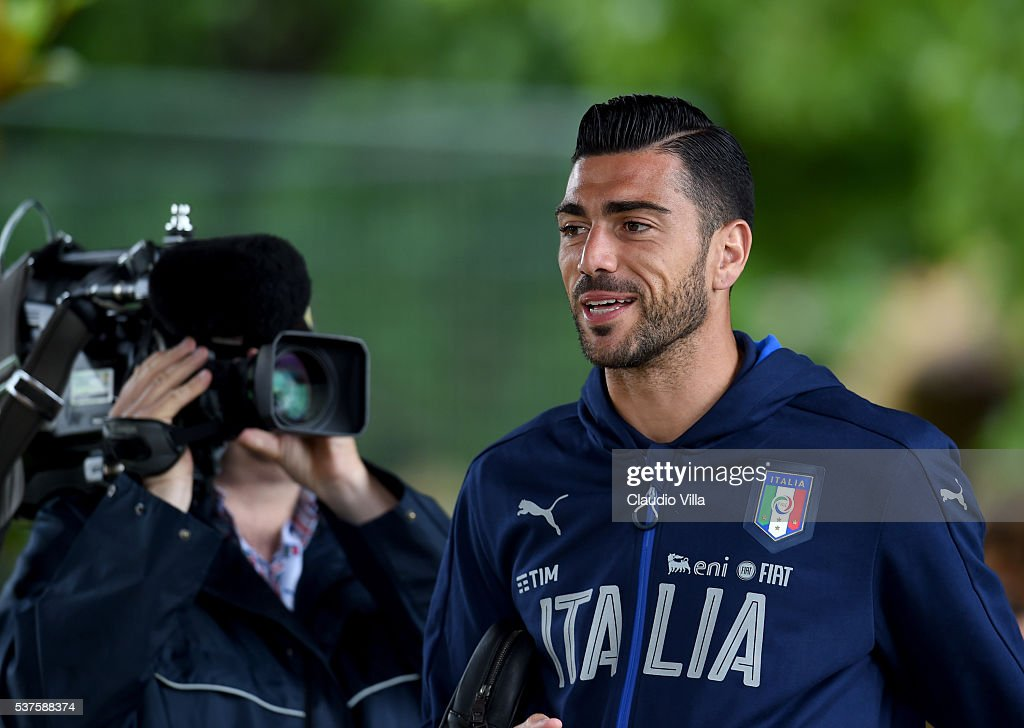 Graziano Pelle of Italy looks on prior to the Italy training session at the club's training ground at Coverciano on June 02, 2016 in Florence, Italy.