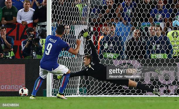 Graziano Pelle of Italy misses at the penalty shootout during the UEFA EURO 2016 quarter final match between Germany and Italy at Stade Matmut...