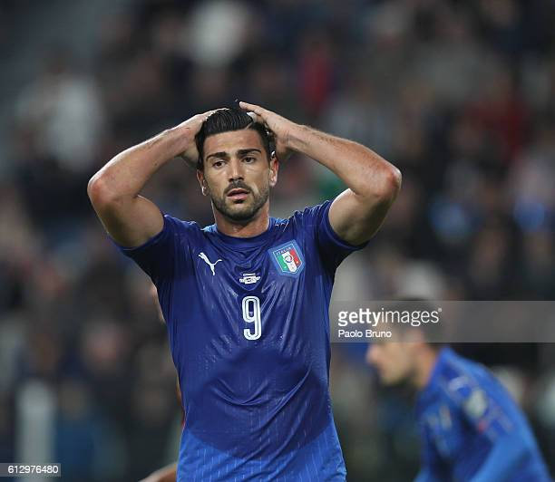 Graziano Pelle of Italy reacts during the FIFA 2018 World Cup Qualifier between Italy and Spain at Juventus Stadium on October 6 2016 in Turin