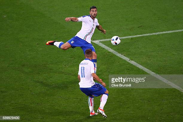 Graziano Pelle of Italy scores his team's second goal during the UEFA EURO 2016 Group E match between Belgium and Italy at Stade des Lumieres on June...