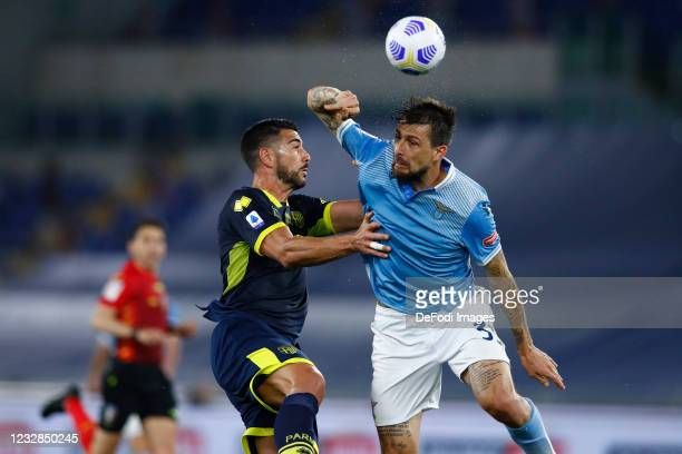 Graziano Pelle of Parma Calcio and Francesco Acerbi of SS Lazio battle for the ball during the Serie A match between SS Lazio and Parma Calcio at...