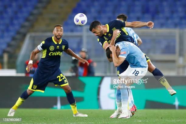 Graziano Pelle of Parma Calcio and Gonzalo Escalante of SS Lazio battle for the ball during the Serie A match between SS Lazio and Parma Calcio at...