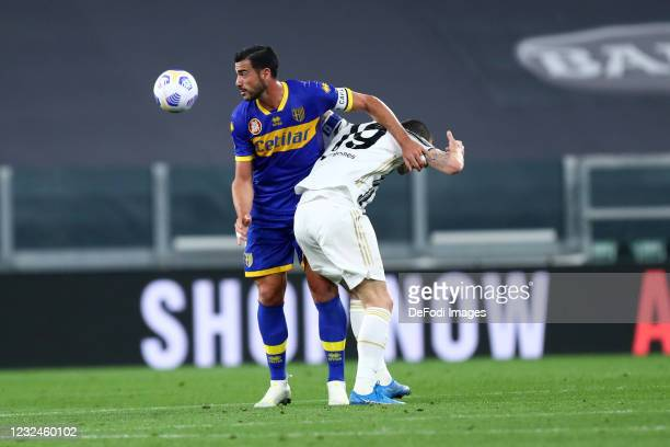 Graziano Pelle of Parma Calcio and Leonardo Bonucci of Juventus FC battle for the ball during the Serie A match between Juventus and Parma Calcio on...