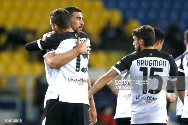 Graziano Pelle of Parma Calcio celebrates with Mattia Bani of Parma Calcio after scoring his sides first goal during the Serie A match between Parma...