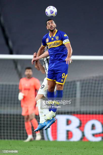Graziano Pelle of Parma Calcio controls the ball during the Serie A match between Juventus and Parma Calcio on April 21, 2021 in Turin, Italy.