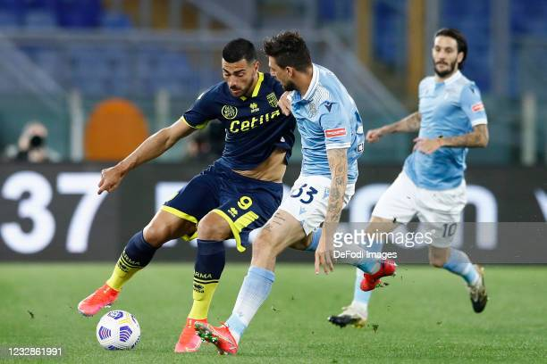 Graziano Pelle of Parma Calcio controls the ball during the Serie A match between SS Lazio and Parma Calcio at Stadio Olimpico on May 12, 2021 in...