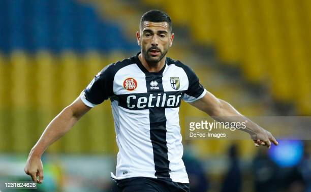 Graziano Pelle of Parma Calcio gestures during the Serie A match between Parma Calcio and Genoa CFC at Stadio Ennio Tardini on March 19, 2021 in...