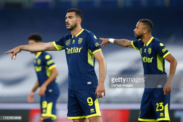 Graziano Pelle of Parma Calcio gestures during the Serie A match between SS Lazio and Parma Calcio at Stadio Olimpico on May 12, 2021 in Rome, Italy....