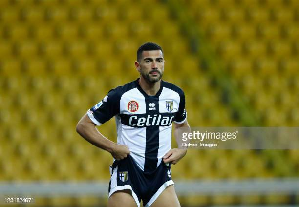 Graziano Pelle of Parma Calcio looks on during the Serie A match between Parma Calcio and Genoa CFC at Stadio Ennio Tardini on March 19, 2021 in...