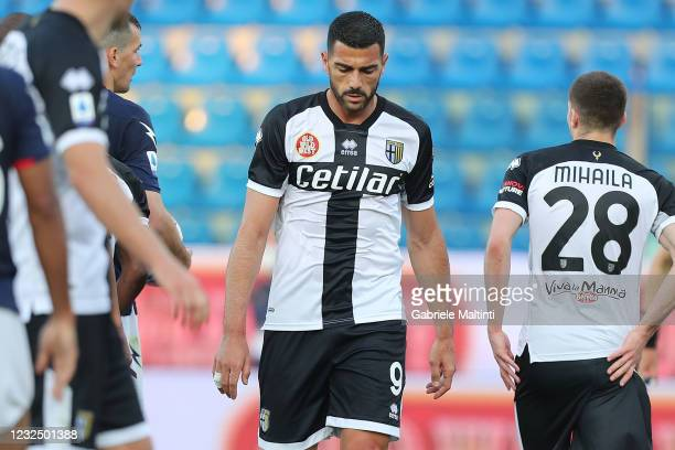Graziano Pelle' of Parma Calcio reacts during the Serie A match between Parma Calcio and FC Crotone at Stadio Ennio Tardini on April 24, 2021 in...