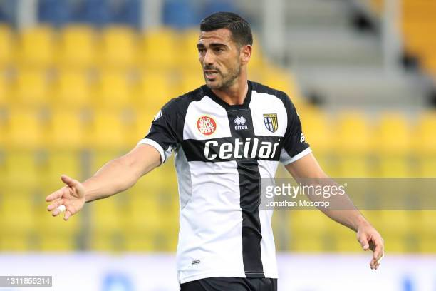 Graziano Pelle of Parma Calcio reacts during the Serie A match between Parma Calcio and AC Milan at Stadio Ennio Tardini on April 10, 2021 in Parma,...