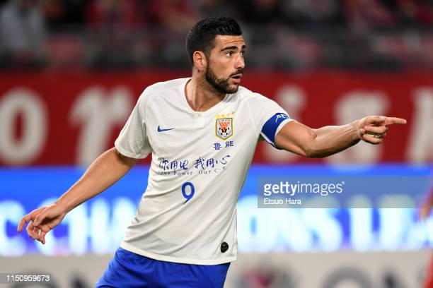 Graziano Pelle of Shandong Luneng gestures during the AFC Champions League Group E match between Kashima Antlers and Shandong Luneng at Kashima...