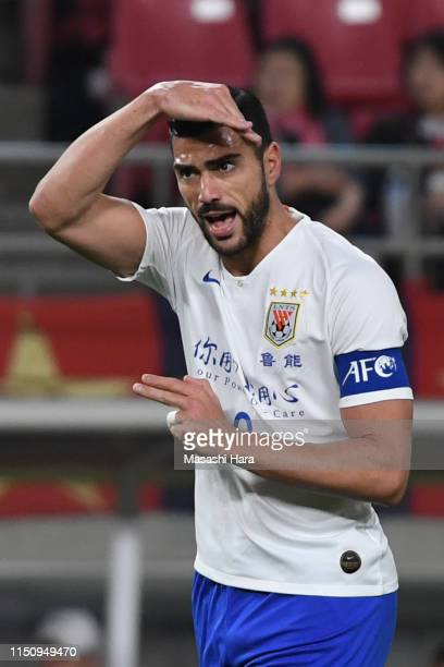 Graziano Pelle of Shandong Luneng reacts during the AFC Champions League Group E match between Kashima Antlers and Shandong Luneng at Kashima Soccer...