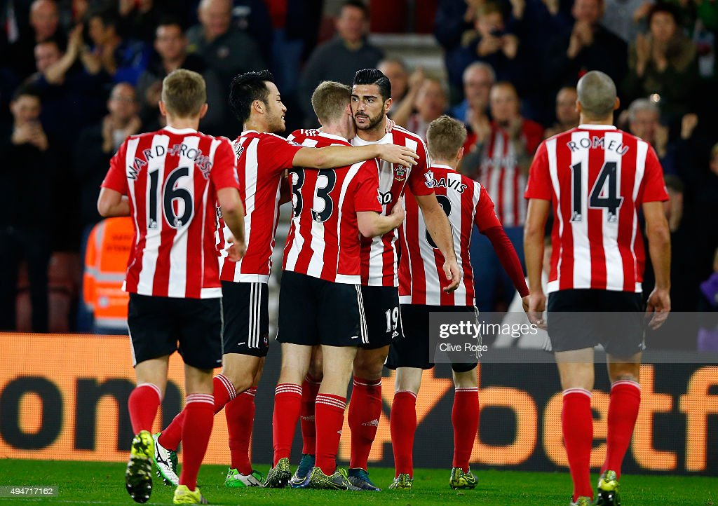 Graziano Pelle of Southampton celebrates his goal during the Capital One Cup Fourth Round match between Southampton and Aston Villa at St Mary's Stadium on October 28, 2015 in Southampton, Englan