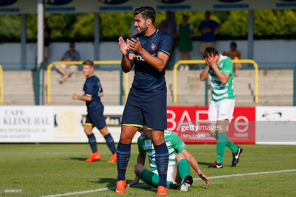 Graziano Pelle of Southampton celebrates scoring his first goal during the pre-season friendly match between KSK Hasselt and Southampton at the Stedelijk Sportstadion on July 17, 2014 in Hasselt, Belgium.