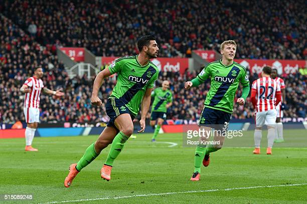 Graziano Pelle of Southampton celebrates scoring his team's second goal during the Barclays Premier League match between Stoke City and Southampton...
