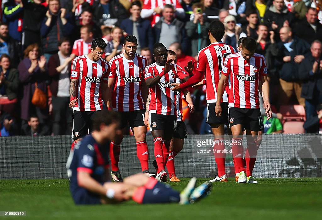 Graziano Pelle (2nd L) of Southampton celebrates scoring his team's second goal with his team mates during the Barclays Premier League match between Southampton and Newcastle United at St Mary's Stadium on April 9, 2016 in Southampton, England.