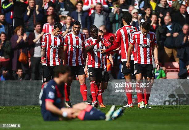Graziano Pelle of Southampton celebrates scoring his team's second goal with his team mates during the Barclays Premier League match between...