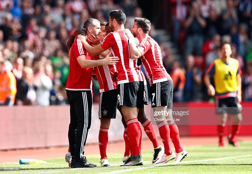 Graziano Pelle (2nd R) of Southampton celebrates scoring his team's second goal with his team mates and coaches during the Barclays Premier League match between Southampton and Crystal Palace at St Mary's Stadium on May 15, 2016 in Southampton, England.
