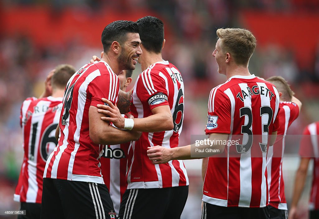 Graziano Pelle of Southampton celebrates scoring the first goal for Southampton during the Barclays Premier League match between Southampton and Norwich City on August 30, 2015 in Southampton, United Kingdom.