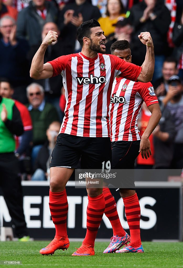 Graziano Pelle of Southampton celebrates scoring the opening goal during the Barclays Premier League match between Southampton and Tottenham Hotspur at St Mary's Stadium on April 25, 2015 in Southampton, England.