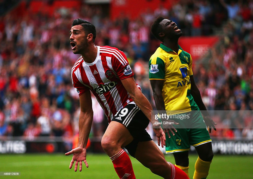 Graziano Pelle of Southampton celebrates scoring the opening goal during the Barclays Premier League match between Southampton and Norwich City at St Mary's Stadium on August 30, 2015 in Southampton, England.