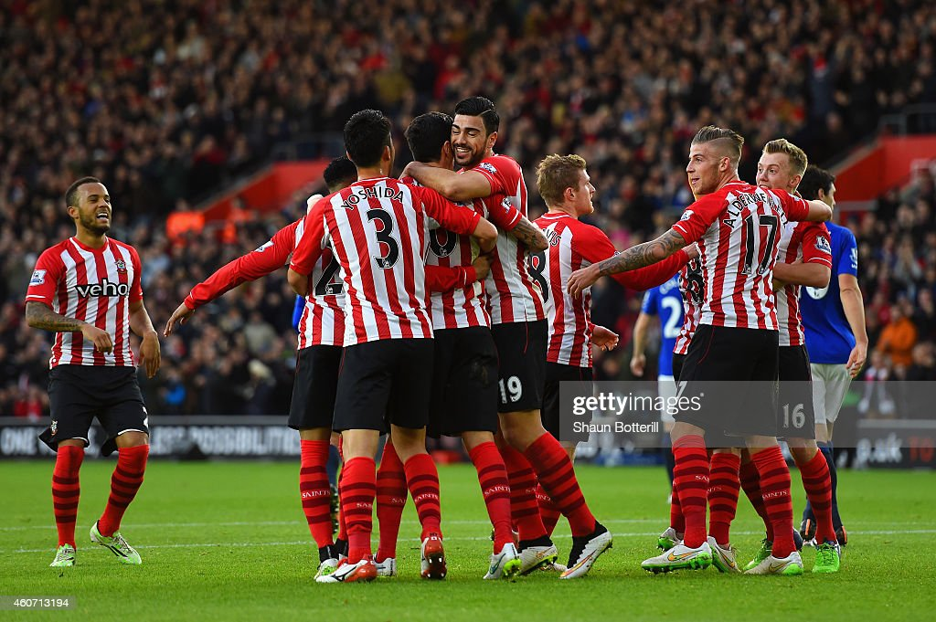Graziano Pelle of Southampton (C) celebrates with team mates after Romelu Lukaku of Everton (not pictured) scored an own goal during the Barclays Premier League match between Southampton and Everton at St Mary's Stadium on December 20, 2014 in Southampton, England.
