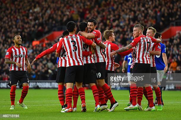 Graziano Pelle of Southampton celebrates with team mates after Romelu Lukaku of Everton scored an own goal during the Barclays Premier League match...