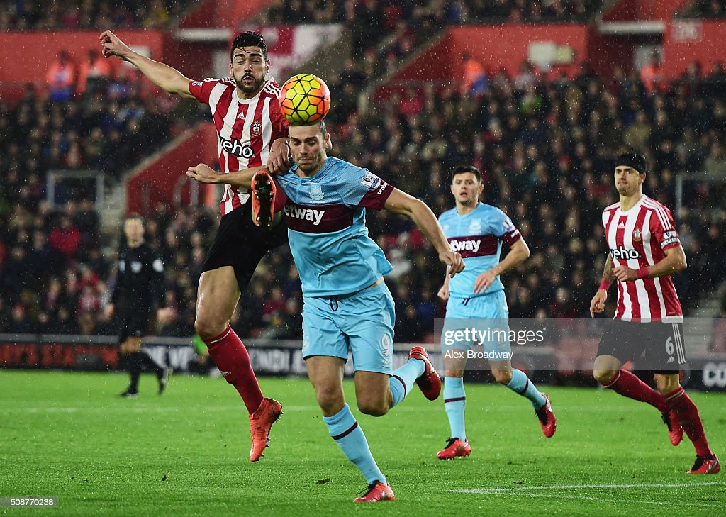 Graziano Pelle of Southampton challenges Andy Carroll of West Ham United during the Barclays Premier League match between Southampton and West Ham United at St Mary's Stadium on February 6, 2016 in Southampton, England.