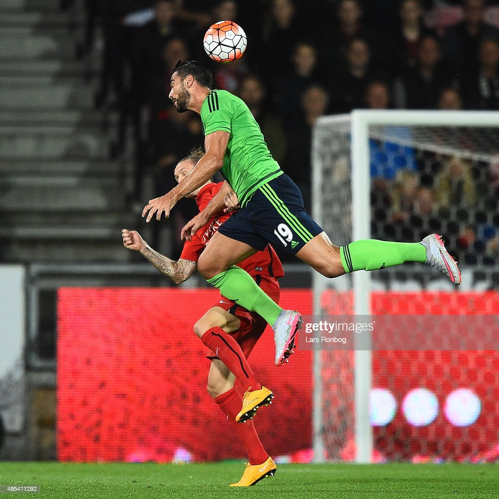 Graziano Pelle of Southampton jumps for ball during the UEFA Europa League match between FC Midtjylland and Southampton FC at MCH Arena on August 27, 2015 in Herning, Denmark.