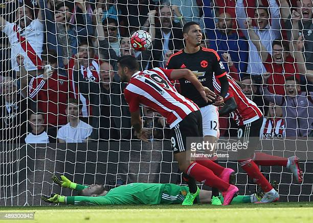 Graziano Pelle of Southampton scores their first goal during the Barclays Premier League match between Southampton and Manchester United on September...