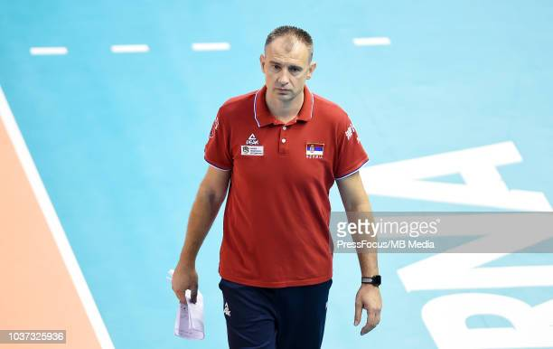 Grbic Nikola head coach of Serbia reacts during FIVB World Championships match between Serbia and France on September 21 2018 in Varna Bulgaria