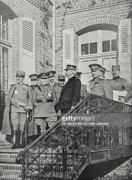 left General Porro General Wiellemans French Marshal General Huguet General Joffre General Gilinsky Colonel Stefanovich December 8 at the French...