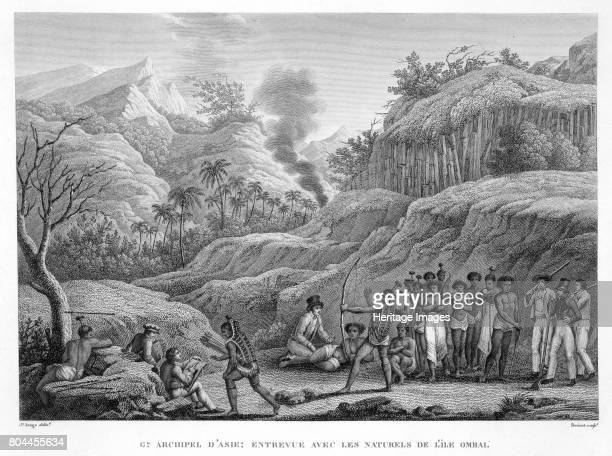 French explorers with natives on the Island of Ombai 18221824 From Voyage Autour du Monde by Louis Claude Desaulses de Freycinet Artist Edme Bovinet
