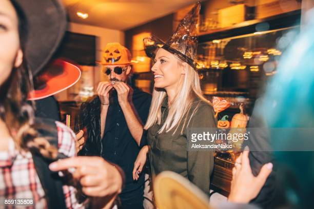 great atmosphere on a halloween party - halloween party stock photos and pictures