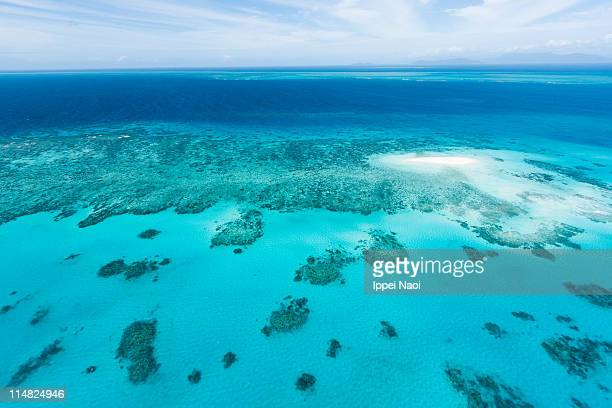 Great Barrier Reef and coral sand cay