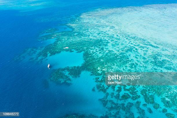 Great Barrier Reef from above by helicopter