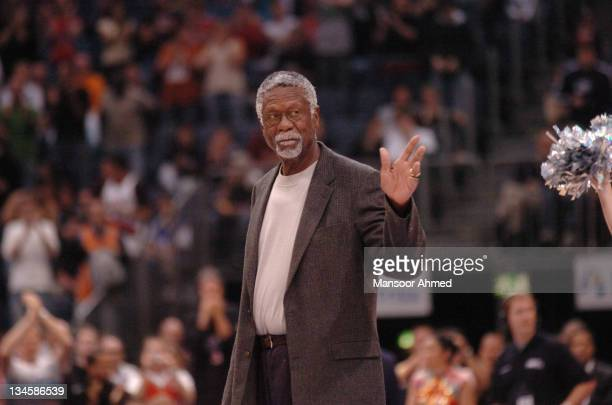 Great Bill Russell gets introduced to the crowd during the NBA Europe Live Tour presented by EA Sports on October 11, 2006 at the Kölnarena in...