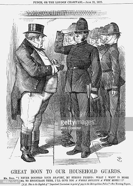 'Great Boon to Our Household Guards' 1870 This cartoon refers specifically to the Metropolitan force set up originally in 1829 John Bull the...