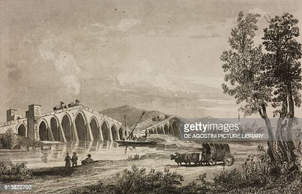 Great Bridge Istanbul Turkey engraving by Lemaitre Danvin and Lepetit from Turquie by Joseph Marie Jouannin and Jules Van Gaver L'Univers pittoresque...