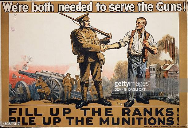 Great Britain, 20th century, First World War - We're both needed to serve the Guns! Advertisment for the recruitment of troops. Paris, Musée De...