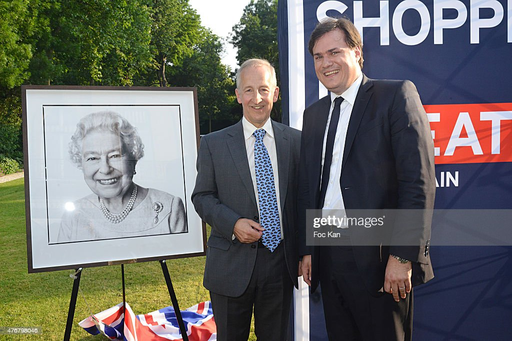 Great Britain ambassador Sir Peter Ricketts and Comite Faubourg Saint Honore President Benjamin Cymerman attend the British 'Summer Time 2015' cocktail at the British Embassy and shops events Rue du Faubourg Saint Honore on June 11, 2015 in Paris, France.