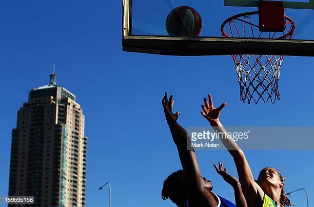 Great Britain and Australia Gold compete in the Womens Basketball 3x3 during day two of the 2013 Australian Youth Olympic Festival at Darling Harbour...