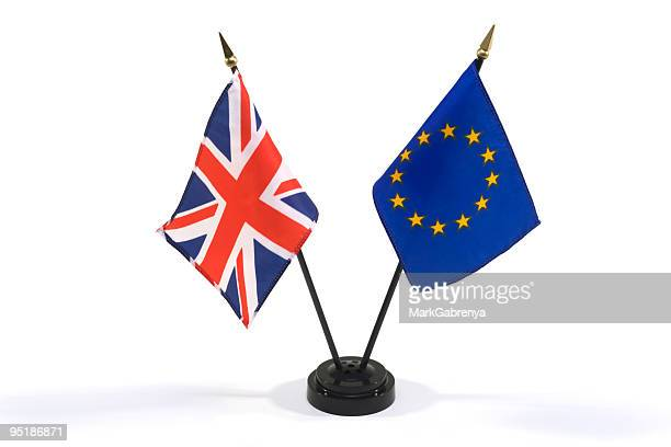 great britain and european union flags isolated on white - british culture stock pictures, royalty-free photos & images