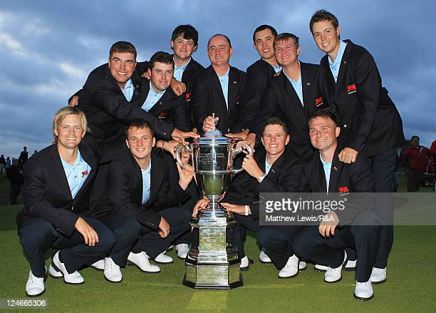 Great Britain and Ireland celebrate winning the Walker Cup after the day two afternoon singles matches of the 2011 Walker Cup held on the Balgownie...