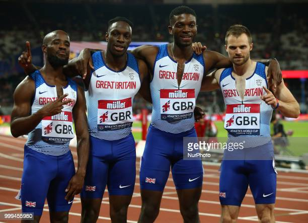 Great Britain and Northern Ireland Team after the 4 x 100m Relay Men during Athletics World Cup London 2018 at London Stadium, London, on 14 July 2018